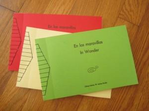 Letterpress and Japanese stab stitch: En las maravillas/In Wonder