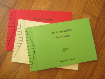 Letterpress and Japanese stab stitch: En las maravillas/In Wonder